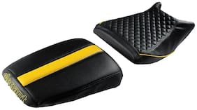 Elegant Cameo Sports Black and Yellow Twin Bike Seat Cover For Royal Enfield Himalayan