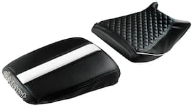 Elegant Cameo Sports Black and White Twin Bike Seat Cover For TVS Apache RTR 200