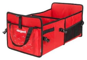 Elegant Car Trunk/Boot/Dicky/Interior Organizer for Maruti 800 (Red)