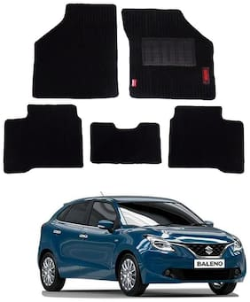 Elegant Cord Black Carpet Car Mats For Maruti Suzuki Baleno [2015-2017] - Set of 5 pc