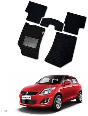 Elegant Cord Black Carpet Car Floor Mat For Maruti Suzuki Swift [2011-2017] - Set of 5 pc