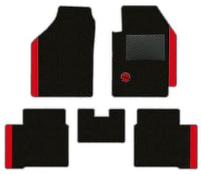 Elegant Duo Carpet Black and Red Carpet Car Mats for Maruti Suzuki Vitara Brezza (Set of 5 pc)