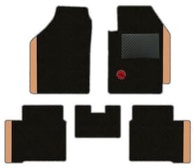 Elegant Duo Carpet Black and Beige Carpet Car Mats for Maruti Suzuki Baleno 2015 Onwards Delta - Set of 5 Pcs