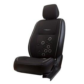 Elegant Fresco Fizz Black Fabric Car Seat Cover For Mahindra Bolero 8 Seater