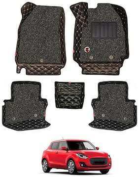 Elegant Luxury Leatherette 7D Car Mats For Maruti Suzuki Swift ( Black )