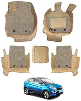 Elegant Luxury Leatherette 7D Car Mats For Tata Nexon (Beige)