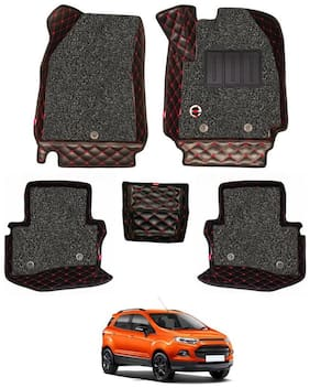 Elegant Luxury Leatherette 7D Car Mats For Ford Ecosport (Black & Red)