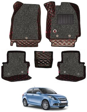 Elegant Luxury Leatherette 7D Car Mats For Maruti Suzuki Swift Dzire (Black & Red)