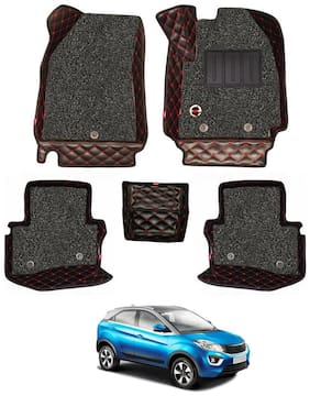Elegant Luxury Leatherette 7D Car Mats For Tata Nexon (Black & Red)