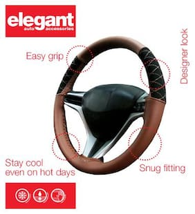 Elegant Tan Car Steering Cover For Hyundai Creta