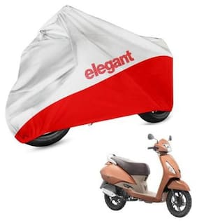 Elegant Two Wheeler Cover for TVS (Jupiter;White;Red)