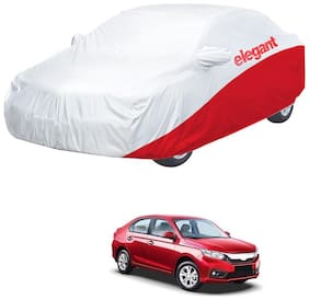 Elegant Waterproof Car Body Covers Compatible With Honda Amaze-(White & Red)