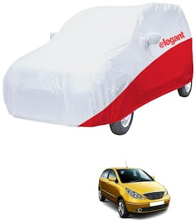 Elegant Waterproof Car Body Covers Compatible With Tata Indica Vista-(White & Red)