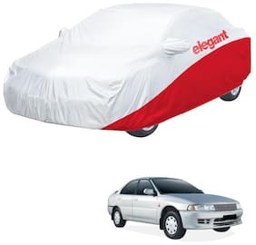 Elegant Waterproof Car Body Covers Compatible With Mitsubishi Lancer-(White & Red)