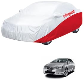 Elegant Waterproof Car Body Covers Compatible With Honda City ZX-(White & Red)