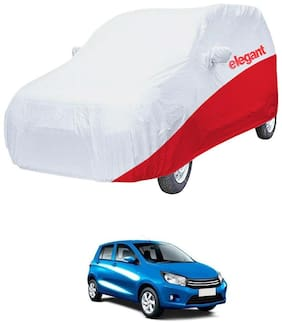 Elegant Waterproof Car Body Covers Compatible With Maruti Suzuki Celerio-(White & Red)