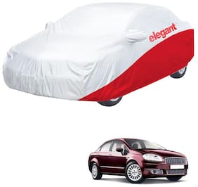 Elegant Waterproof Car Body Covers Compatible With Fiat Linea-(White & Red)