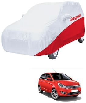 Elegant Waterproof Car Body Covers Compatible With Tata Bolt-(White & Red)