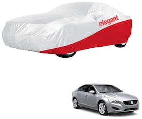Elegant Waterproof Car Body Covers Compatible With Volvo S60-(White & Red)