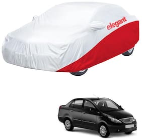 Elegant Waterproof Car Body Covers Compatible With Tata Manza-(White & Red)