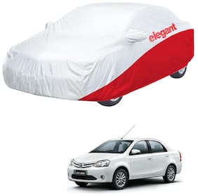 Elegant Waterproof Car Body Covers Compatible With Toyota Etios-(White & Red)