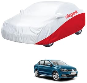 Elegant Waterproof Car Body Covers Compatible With Volkswagen Ameo-(White & Red)