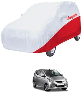 Elegant Waterproof Car Body Covers Compatible With Hyundai Eon-(White & Red)