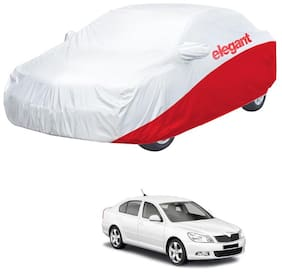 Elegant Waterproof Car Body Covers Compatible With Skoda Laura-(White & Red)