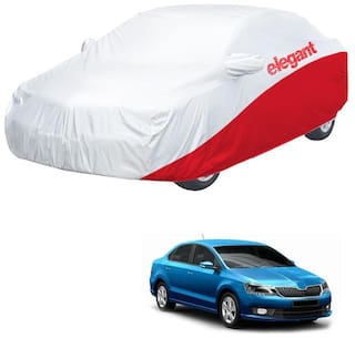 Elegant Waterproof Car Body Covers Compatible With Skoda Rapid-(White & Red)
