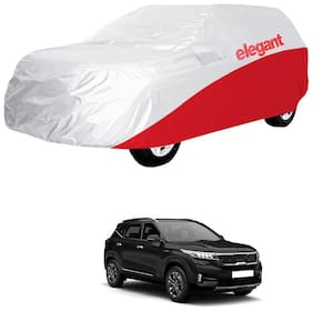 Elegant Waterproof Car Body Covers Compatible With Kia SELTOS-(White & Red)