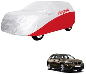 Elegant Waterproof Car Body Covers Compatible With BMW X1-(White & Red)