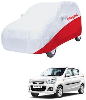 Elegant Waterproof Car Body Covers Compatible With Maruti Suzuki Alto K10-(White & Red)
