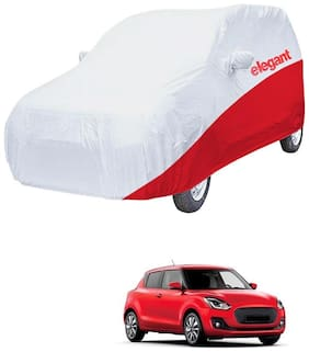 Elegant Waterproof Car Body Covers Compatible With Maruti Suzuki Swift-(White & Red)