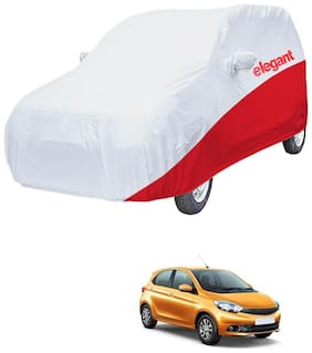 Elegant Waterproof Car Body Covers Compatible With Tata Tiago-(White & Red)