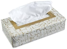EleWa Beautuiful Leather Printed Car Tissue Box With Soft Face Tissues(Pack of 1)