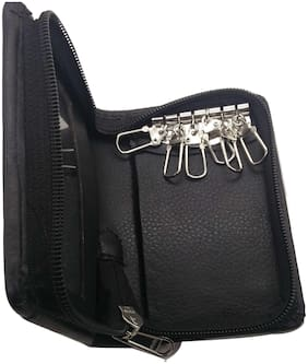 Essart 12.00 cm Long Key Holder Pouch madeup in Faux Leather - 41411 Black