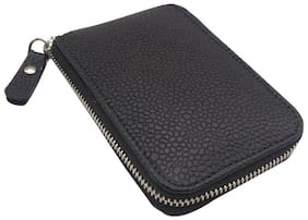 Essart Faux Leather dotted print Key Holder Pouch, 13cm long zipp closure, attachable 6 ring to hold keys - 400422-Black