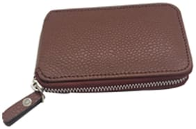 Essart Faux Leather dotted print Key Holder Pouch, 13cm long zipp closure, attachable 6 ring to hold keys - 400422-Tan