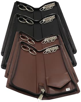 Essart Sarvika Collection 25 cm (Set of 4) Long Key Holder Pouch Build up in Faux Leather 6 Hooks, 2 Rings, Zipp Closure - 44410-Black::Brown