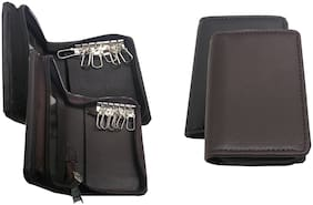 Essart Sarvika Collection 12.00 cm Long Key Holder Pouch Build up in Faux Leather 6 Hooks, 2 Rings, Zipp Closure - 42411 Black::Brown