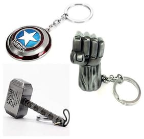 eWeft Hulk Hand Silver, Captain America and Thor Hammer Key chain (3Pcs Pack)