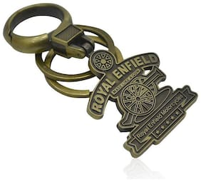 eWeft royal enfield double lock Locking Key Chain (Gold)