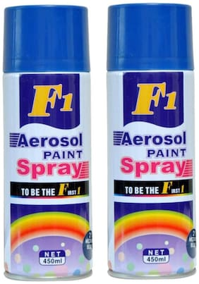 F1 Multi-Purpose Blue Spray Paint for Car, Bike, Cycle and Home - 450 ml. ( Set of 2 )