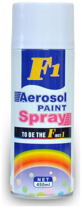 F1 Multi-Purpose Gloss White Spray Paint for Car, Bike, Cycle and Home - 450 ml.