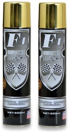 F1 Multi-Purpose Golden Spray Paint for Car, Bike, Cycle, and Home - 300 ml. ( Set of 2 )