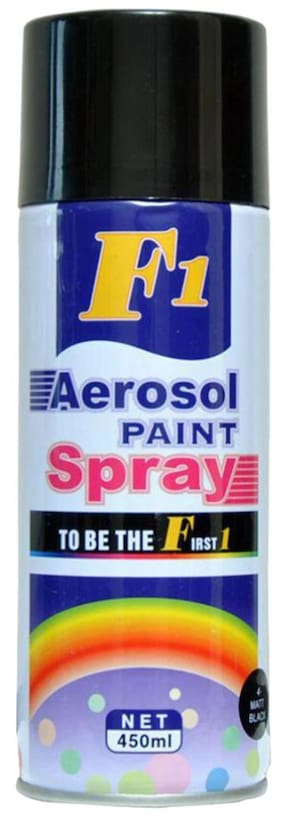 F1 Multi-Purpose Gloss Black Spray Paint for Car, Bike, Cycle and Home - 450 ml.