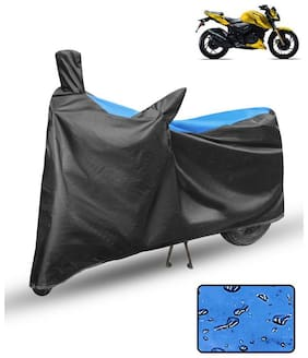 FABTCE Waterproof Motorcycle/ Bike Body cover For tvs apache rtr 200 Blue & Black Motorcycle Cover