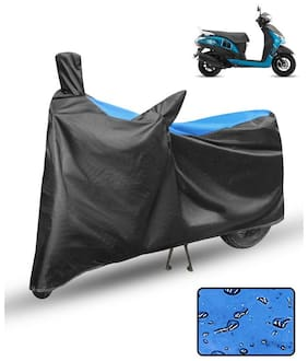 FABTCE Waterproof Scooty/Scooter Cover For Yamaha Alpha Blue & Black Scooty cover