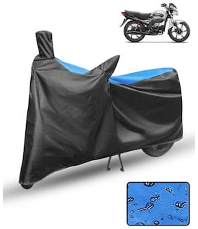 FABTCE Waterproof Motorcycle/ Bike Body cover For hero passion pro Blue & Black Motorcycle Cover