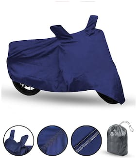 FABTEC Bike Body Cover For Hero Splendor Plus Motorcycle Cover With Storage Bag (Blue)